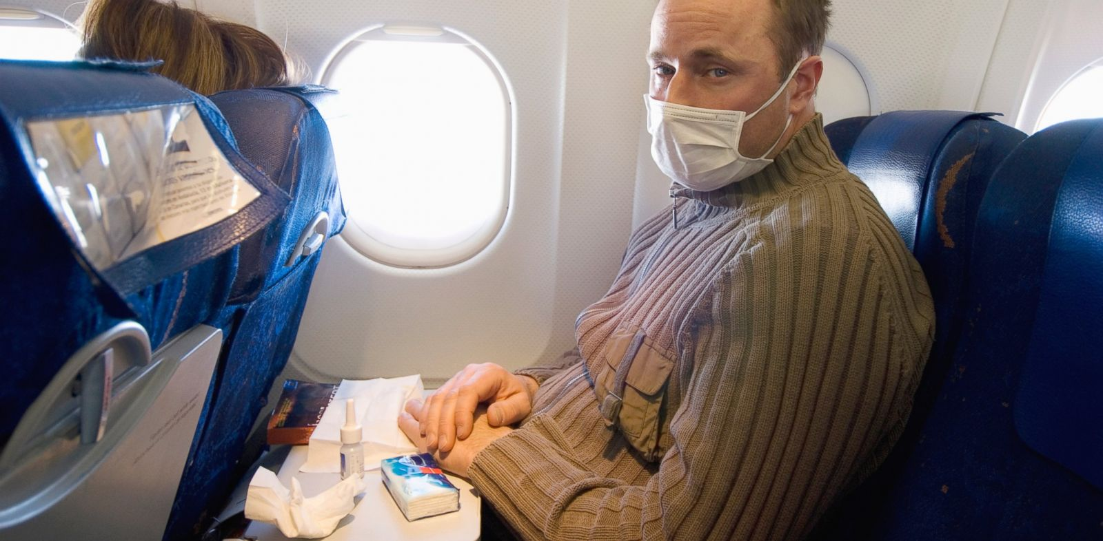 PHOTO: Outside-air mixing replenishes the cabin air constantly, according to Boeing.com. But if youre seated next to a very sick passenger, you may feel inclined to wear a mask.