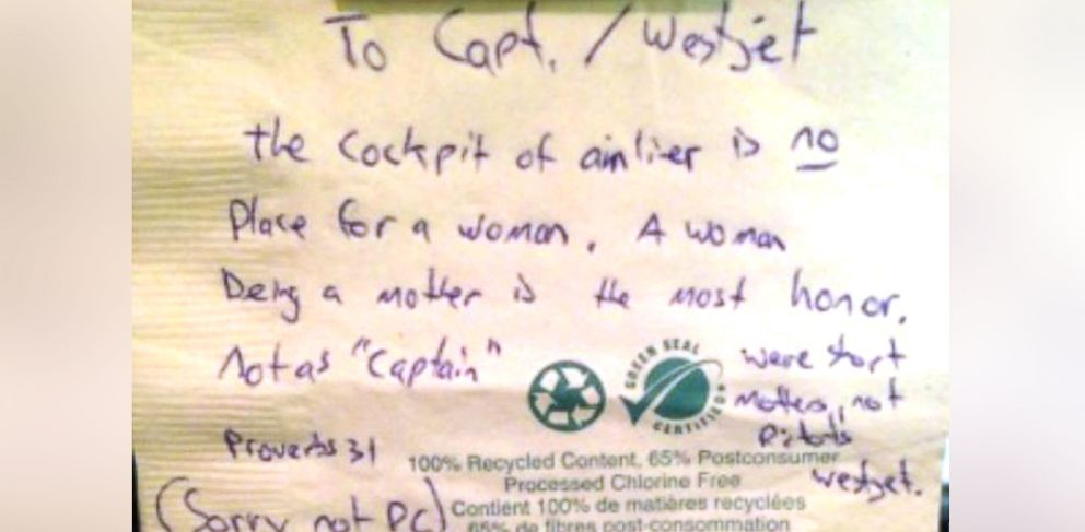 PHOTO: Carey Smith Steacy posted this photo to her Facebook of a note she reportedly found after a flight.