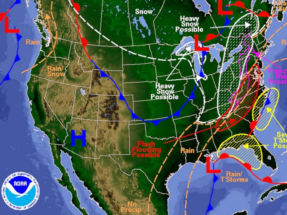 PHOTO: Weather map produced by the Hydrometeorological Prediction Center of the National Centers for Environmental Prediction.