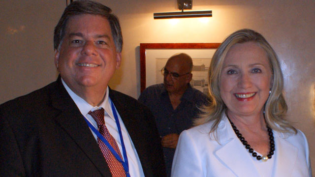 PHOTO: Secretary of State Hillary Rodham Clinton and ABC News producer Tom Giusto in Jerusalem.