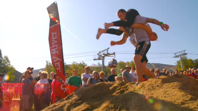 PHOTO:The Wife-Carrying Competition held in Newry, Maine challenges couples to race together as one through an obsticle course.