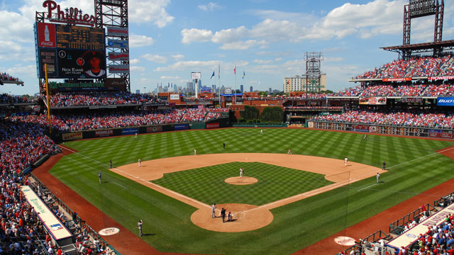 PHOTO: Citizens Bank Park, Philadelphia. With its lowered field 23 feet below street level and bowl-style seating, visitors enjoy magnificent sightlines for the game as well as stunning views of the city skyline.