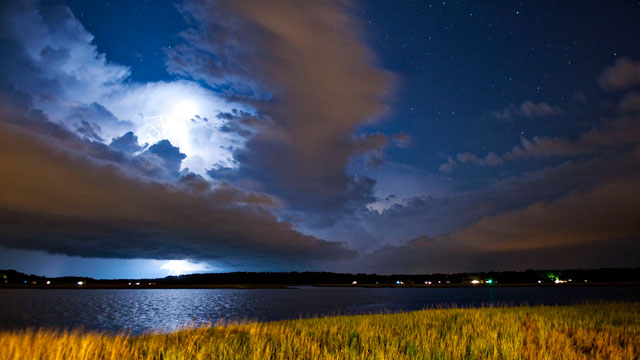 PHOTO: Lightning storm on outskirts of Beaufort, South Carolina.