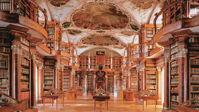 PHOTO: The richly decorated Abbey Library of the monastery St. Gallen, Switzerland was built between 1758 and 1767 and contains 2000 hand writings, 1635 incunable and almost 100,000 books.