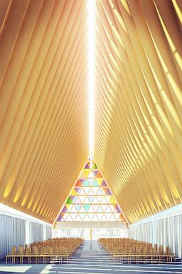 gty cardboard cathedral ll 130823 2x3 384 Worlds First Cardboard Cathedral Opens
