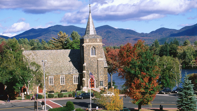 PHOTO: Adirondack Community Church, overlooking Lake Placid, N.Y.