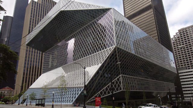 PHOTO: An exterior view of Seattle's new Central Library on May 19, 2004 in Seattle, Washington. The glass and steel structure was designed by the Office for Metropolitan Architecture of the Netherlands and Seattle-based LMN Architects and cost $165.5 mil