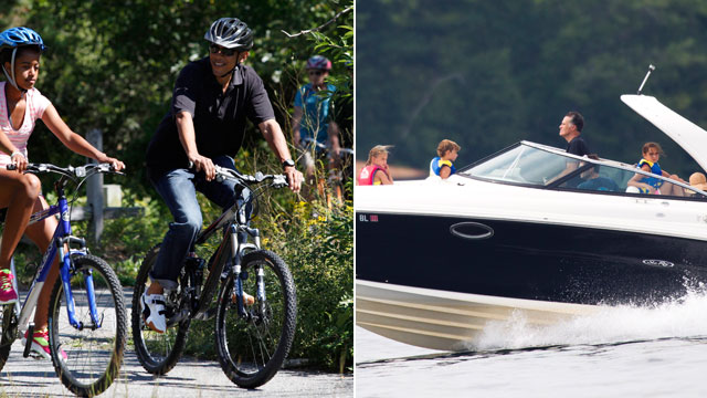 PHOTO: President Barack Obama vacations in Martha's Vineyard, Mass. Mitt Romney Mitt Romney takes his family for a boat ride on Lake Winnipesaukee in Wolfeboro, N.H.