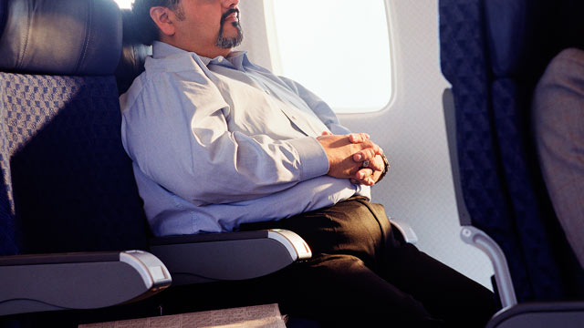 PHOTO: A passenger is shown waiting on an airplane in this file photo.