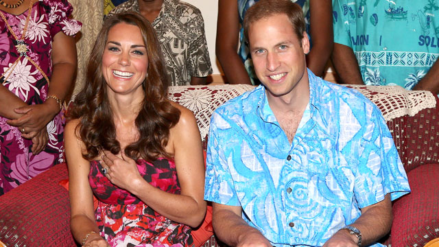 PHOTO: Catherine, Duchess of Cambridge and Prince William, Duke of Cambridge pose wearing traditional island clothing during a visit to the Governor Generals house as part of their Diamond Jubilee tour of the Far East on September 16, 2012 in Honiara, Gu