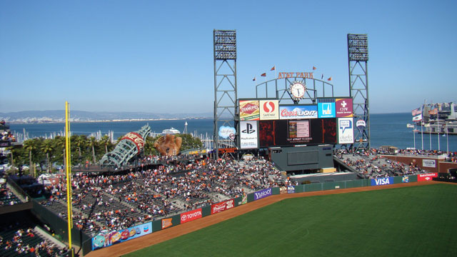 PHOTO: AT&T Park, San Francisco. Travelers visiting AT&T Park can take in amazing views of the San Francisco Bay in this stunning ball yard that opened in 2000.