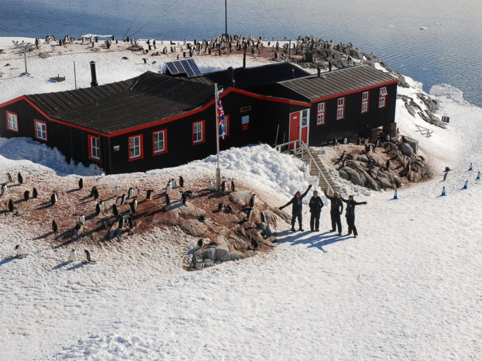 PHOTO: The team at Port Lockroy, situated on Goudier Island in the Antarctic Peninsula.