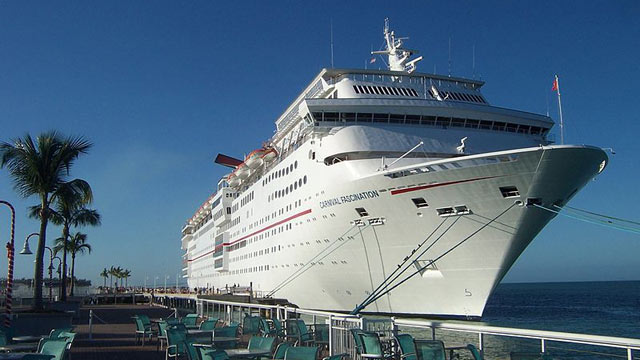 PHOTO: Carnival Fascination docked in Key West. Morning disembarkation of passengers, December 2011.