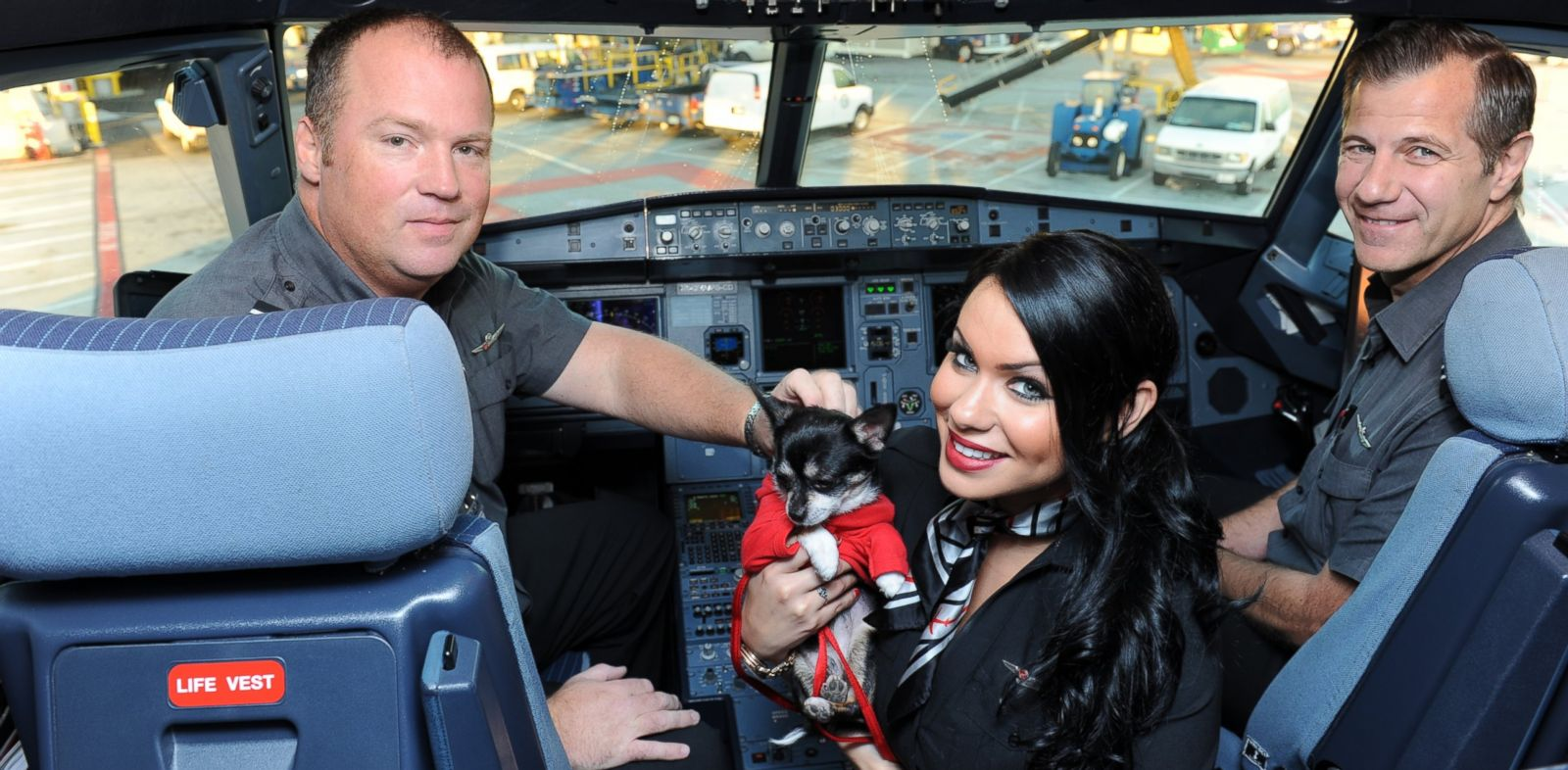 "PHOTO: Captain Scott Corley, in-flight teammate Marie Ernst and First Officer Dennis Calnan welcome one of nine Chihuahua pups being flown to New York onboard the airlines fifth ""Operation Chihuahua"" airlift, on Nov. 13, 2013."
