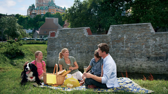 PHOTO:Quebec, Canada may be known for its snowy winters, but summer in the province is lengthy and glorious, thanks to the locals' love of outdoor sport, live entertainment and great food. Chateau Frontenac has a full picnic menu of baguette sandwiches an