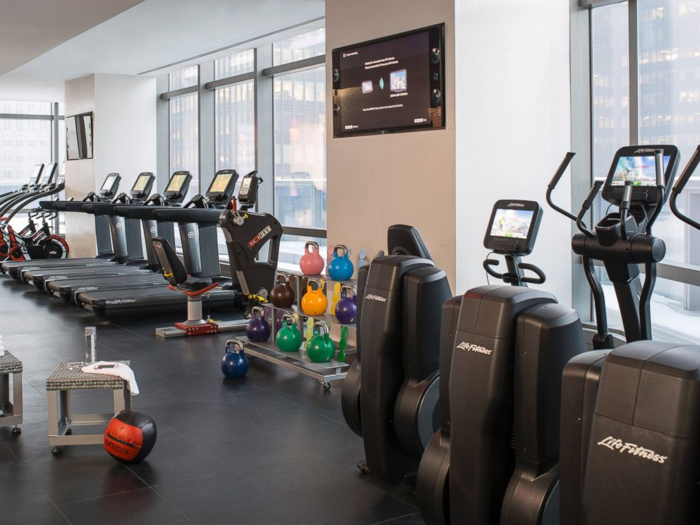 PHOTO: The fitness center on the 35th floor is shared by both brands and has floor-to-ceiling windows.