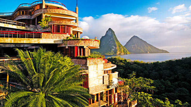 PHOTO: Jade Mountain sits on the edge of the Caribbean Sea with St Lucia's magnificent Piton Mountains as the primary view.