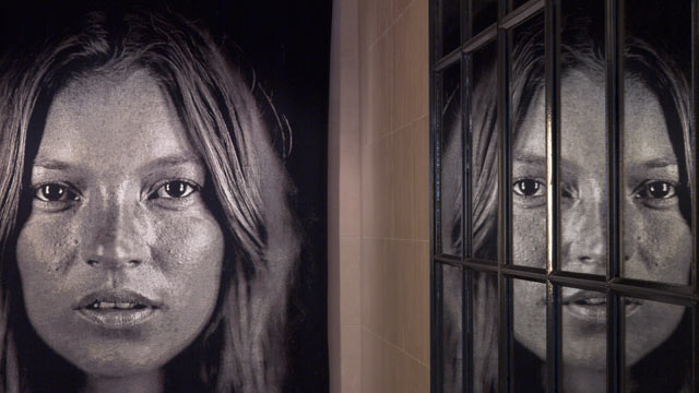 PHOTO: The Jacquard tapestry of Kate Moss (Kate 2007) by American artist Chuck Close.