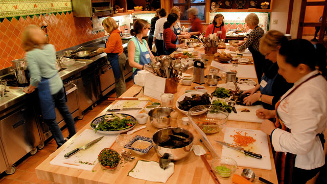 PHOTO:Set in the heart of its six-acre farm, Rancho La Puerta's cooking school hosts weekly classes.