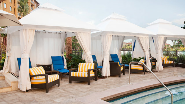 PHOTO: Pool cabanas at Wyndham Grand Orlando Resort Bonnet Creek in Lake Buena Vista, Fla.