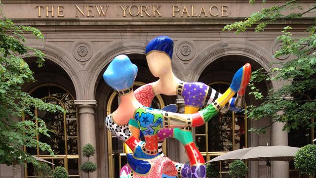 "PHOTO: This summer, The Palace Hotel courtyard debuted a large, hand-painted, multi-colored bronze sculpture by artist Dorit Levinstein entitled ""Renoir's Dancers."""