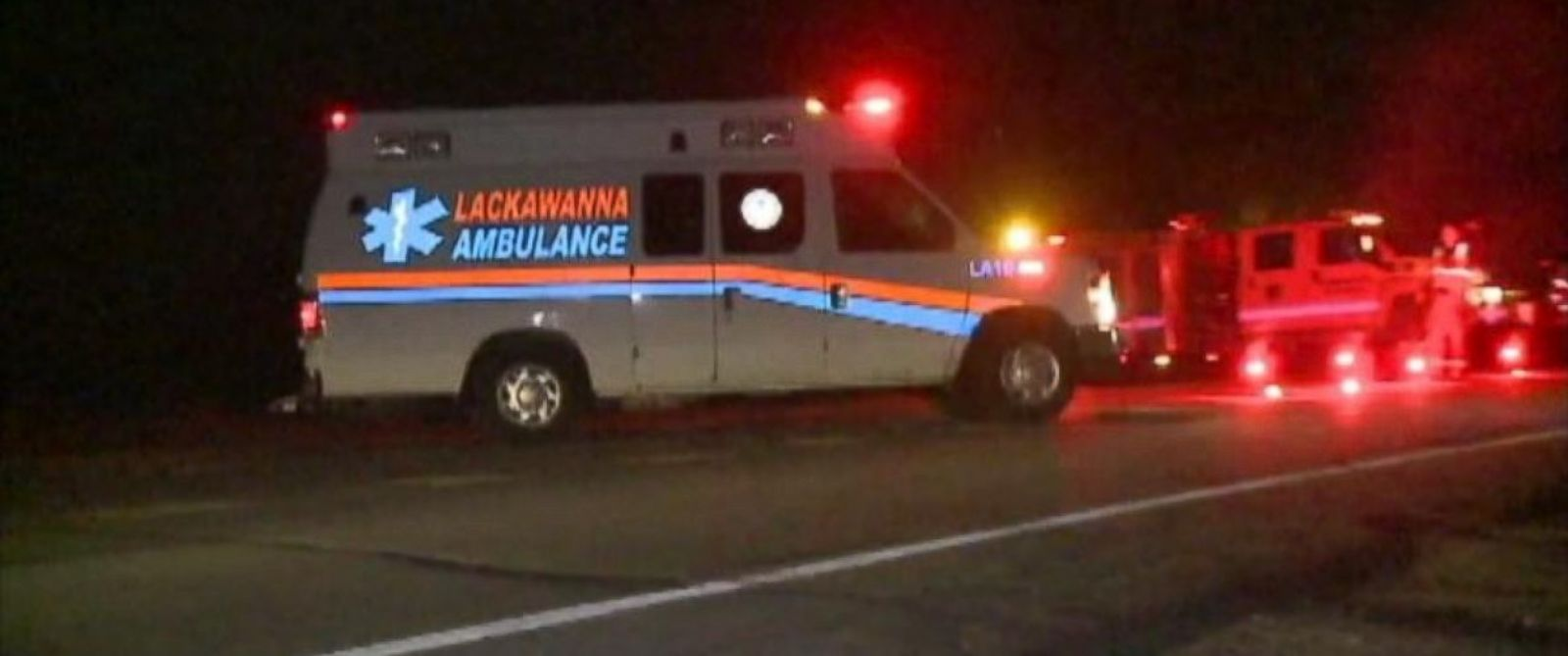 An ambulance outside the Pennsylvania State Barracks in Blooming Grove Township, Pennsylvania. One state trooper was killed and another wounded outside the barracks on Friday, September 12, 2014.