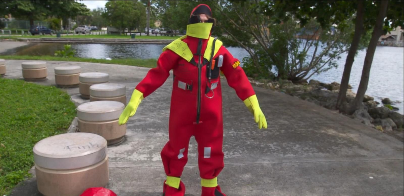 VIDEO: Patrick Brunosson of Datrex, Inc. demonstrates how immersion suits like those worn by the crew of the sunken container ship can help save lives.
