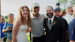 VIDEO: The bride and groom were delighted when the president came over to greet their wedding guests at Torrey Pines Golf Course in San Diego.
