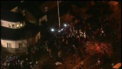 VIDEO: Protestors have been camped in front of the precinct since the fatal shooting of 24-year-old Jamar Clark.