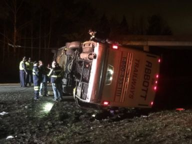 PHOTO: A charter bus carrying students to Richmond, Virginia, area universities overturned on Sunday, November 29, 2015.
