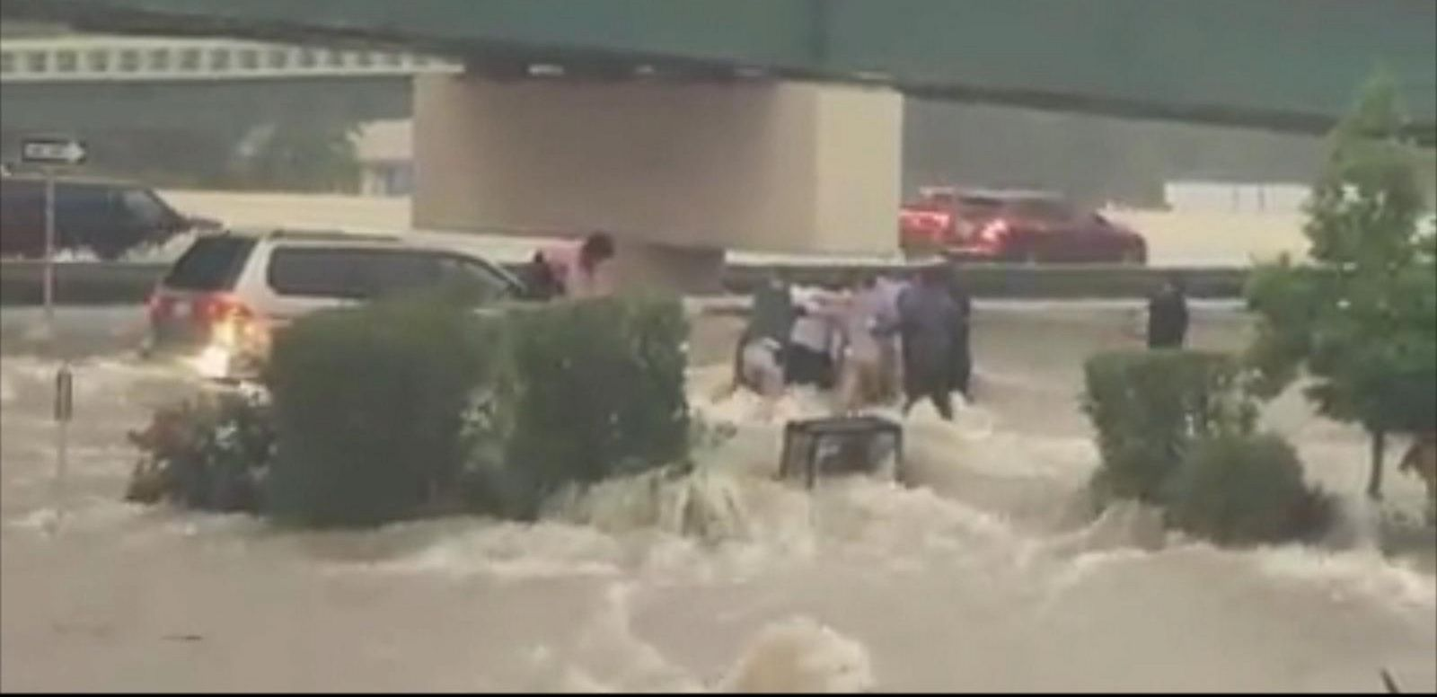 The rescue was caught on camera in Conroe, Texas, north of Houston.