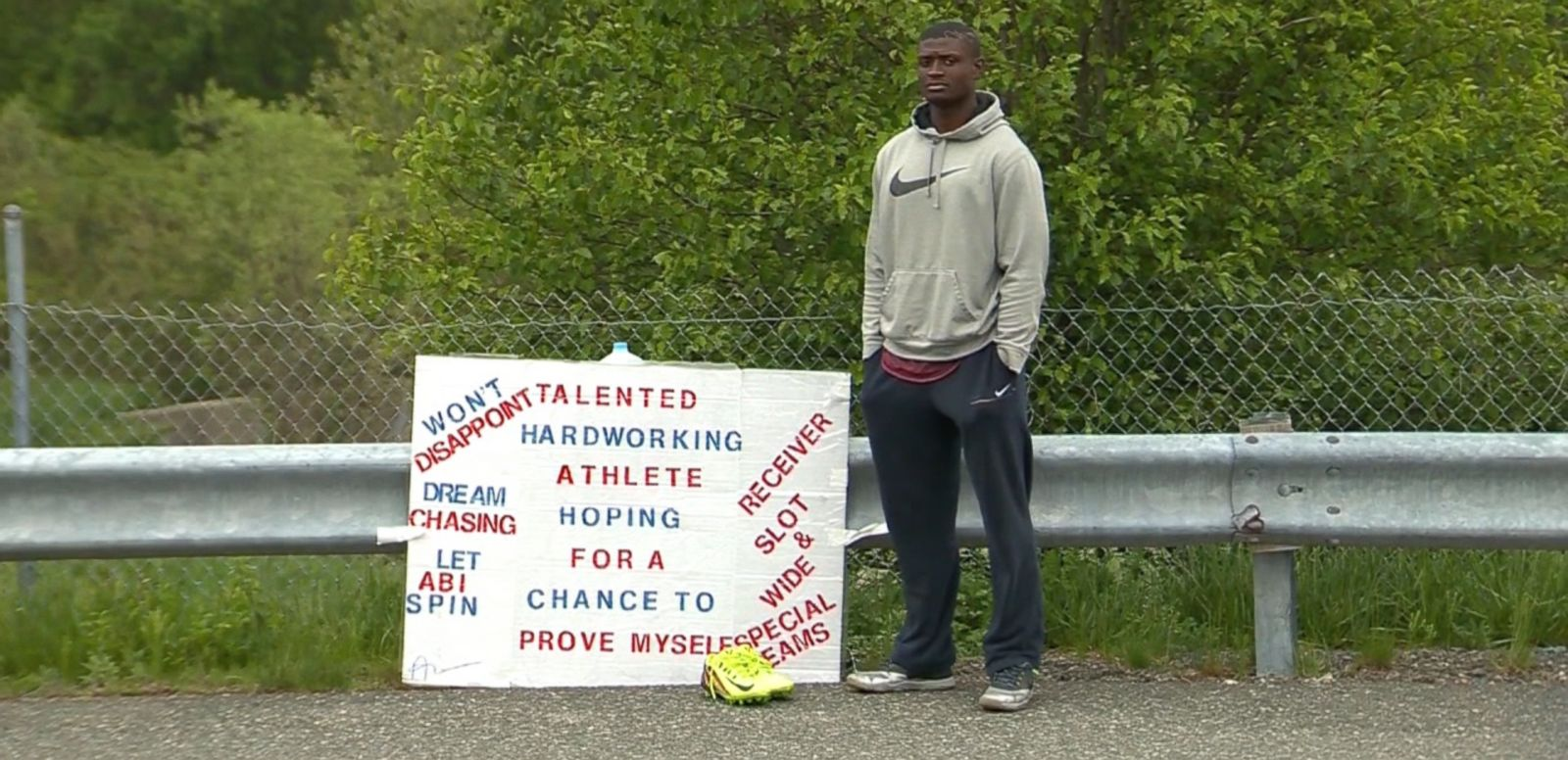 VIDEO: Abiola Aborishade, 23, spends an average of seven hours a day standing outside of Gillette Stadium, hoping for an opportunity to try out for the New England Patriots.