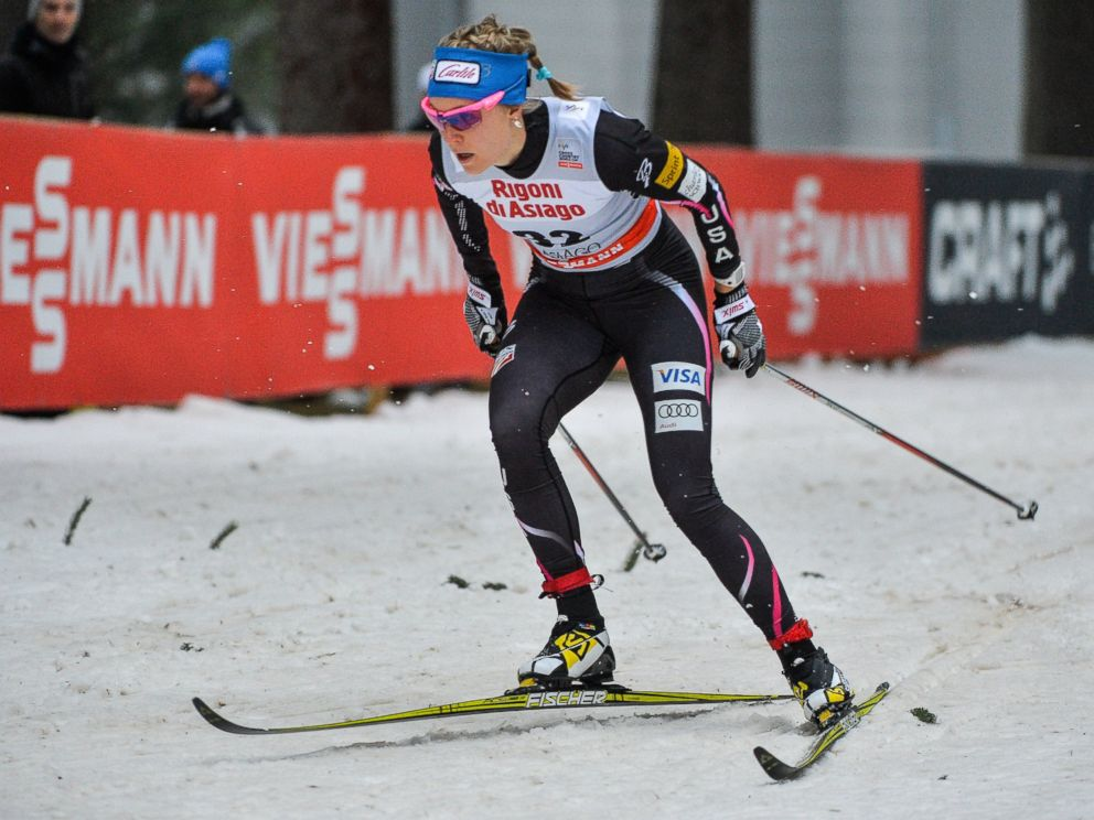 PHOTO: Sadie Bjornsen competes in the Womens 1,25 km Classic Sprint event during the FIS Cross Country skiing World Cup at Millepini stadium in Asiago, northern Italy, Dec. 21, 2013.