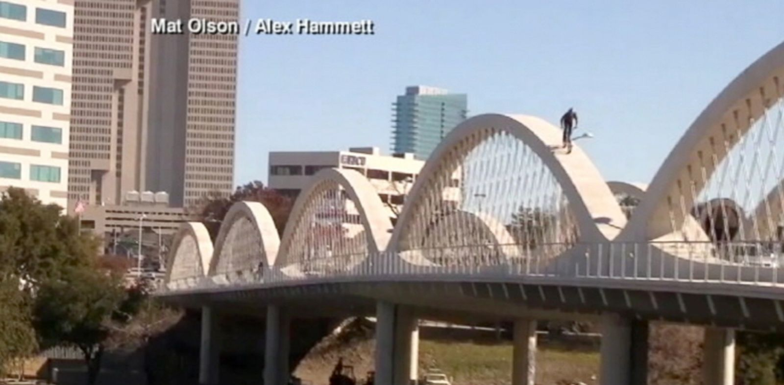 PHOTO: BMX rider Mat Olson scales the arches of the West Seventh Street Bridge in Fort Worth, Texas, Jan. 11, 2014.