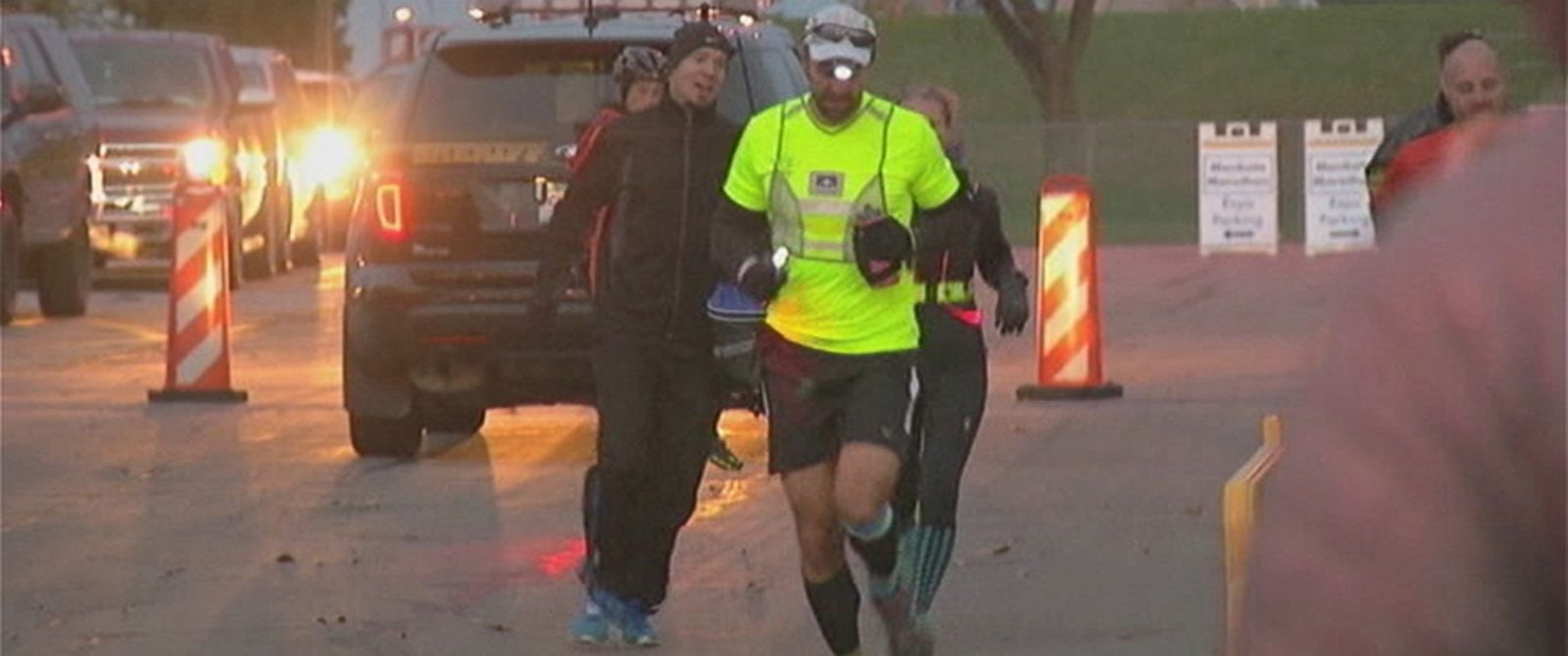 PHOTO: Ryan Chusuke ran the Mankato Marathon in Minnesota forwards and backwards this weekend.
