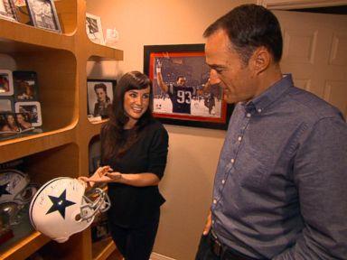 Retired porn star and fantasy sports radio host Lisa Ann shows ABC News Nick Watt her sports memorabilia at her apartment.