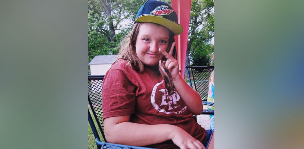 PHOTO: In this 2015 photo provided by Tammy Weeks, her daughter, Nicole Lovell, flashes a peace sign in Blacksburg, Va. The 13-year-old girl was found dead just across the state line in Surry County, N.C.