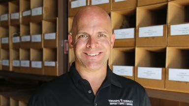 PHOTO: TroopsDirect founder Aaron Negherbon at the veteran owned T3 Gear warehouse in Chula Vista, CA.