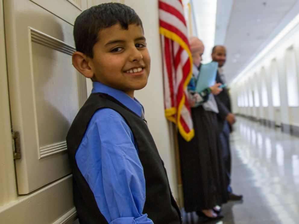 PHOTO: Ahmad Alkhalaf, 9, lost both of his arms after an airstrike hit his Syrian refugee camp. He is Congressman Seth Moultons guest for the State of the Union.