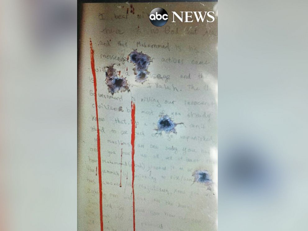 This image, obtained exclusively by ABC News, appears to show the anti-American message allegedly written by Boston Marathon bombing suspect Dzhokhar Tsarnaev on the wall of a boat in which he hid just before being arrested last year.