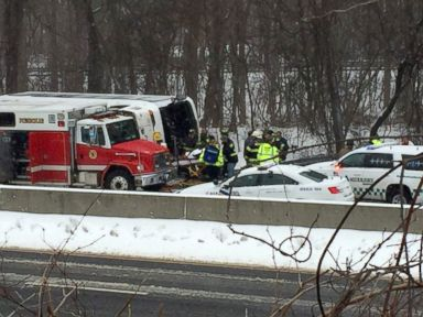 PHOTO: A bus overturned on I-95 in Madison, Connecticut, Feb. 8, 2016.