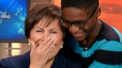 PHOTO: Keonte Cook surprises Gloria Campos, a reporter with WFAA-TV, ABC News Dallas-Fort Worth affiliate, who retired this week after 25 years of connecting foster children with families through the Wednesdays Child segment.