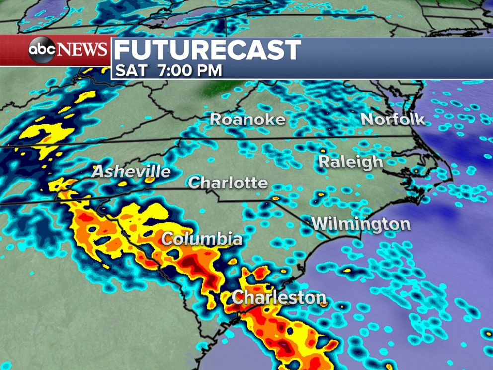 PHOTO: On Saturday evening, rounds of heavy rain will continue across much of South Carolina with unsettled weather expected across much of the mid-Atlantic region.