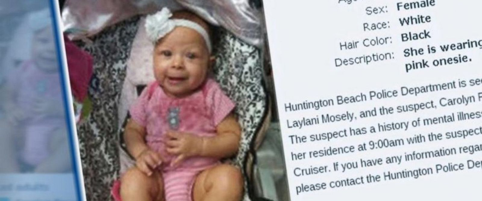 PHOTO: Laylani Mosley was allegedly kidnapped by her grandmother earlier this week.