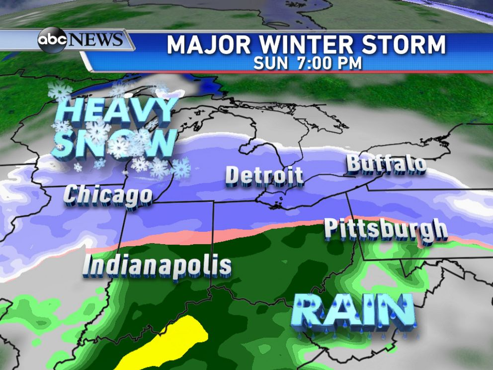 PHOTO: By Sunday evening, the storm will be across the eastern Ohio Valley bringing heavy snow and some rain to the south of I-80.