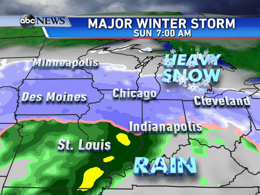 PHOTO: Heavy snow is forecast for areas north of I-80 on Sunday morning.