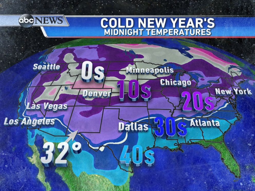 PHOTO: Forecasted temperatures for Midnight on January 1, 2015