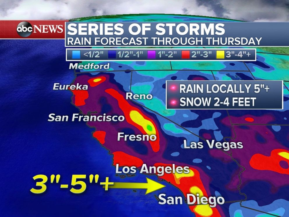 PHOTO: Additional rain expected across California through Thursday.
