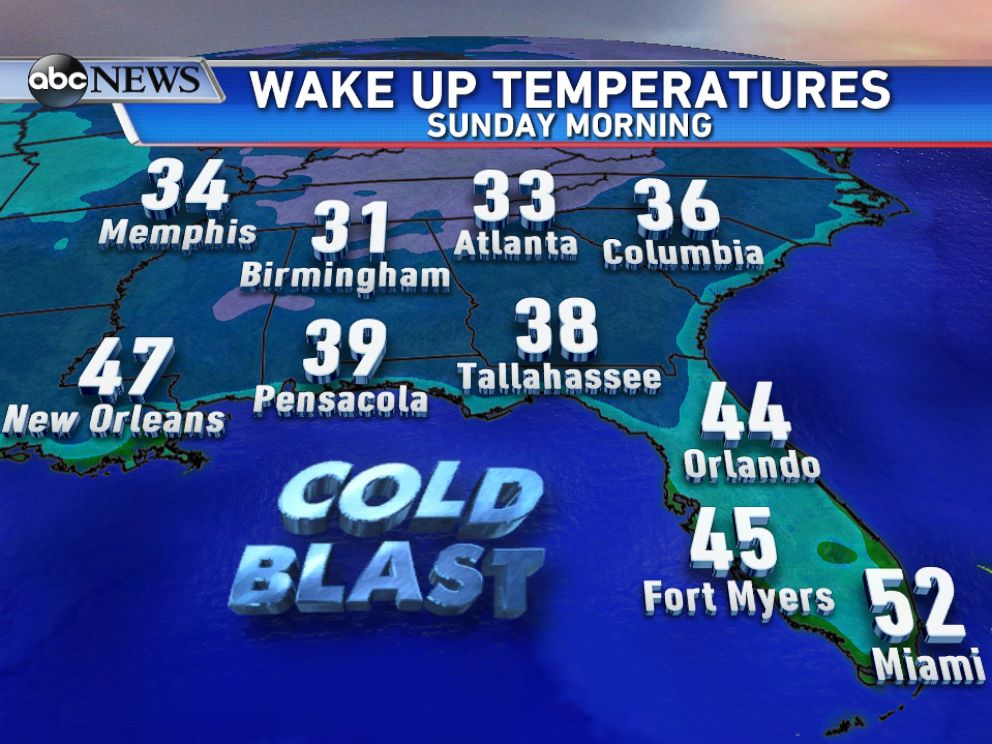 PHOTO: Near record cold temperatures are forecast on Sunday morning for parts of the Southeast.