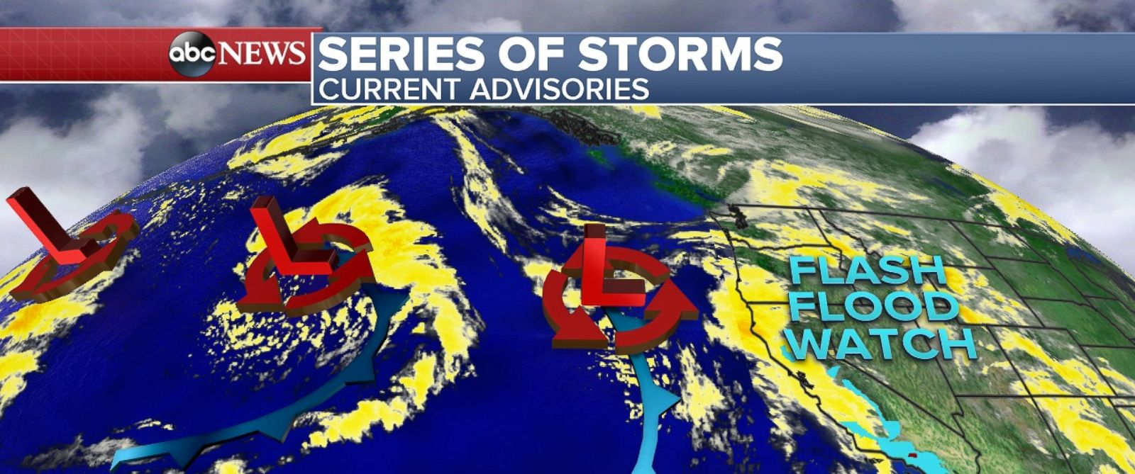 "PHOTO: A ""conveyor belt"" of storms hits the west coast this week."